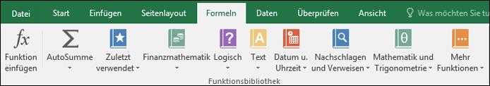 "Die Excel-Registerkarte ""Formeln"" im Menüband"