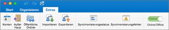 "Screenshot der Registerkarte ""Extras"" im Menüband"