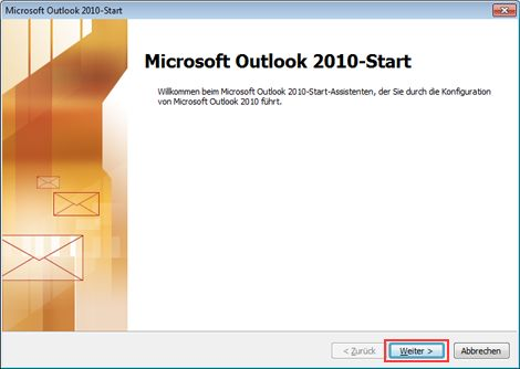 Microsoft Outlook 2010 startup