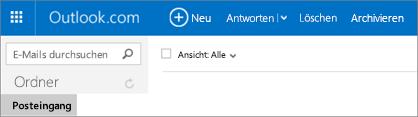 So sieht das Menüband aus, wenn Sie über Outlook.com oder Hotmail.com verfügen.