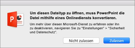 Zeigt die ODF-Datenschutzwarnung in PowerPoint 2016 für Mac