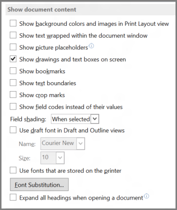Word 2013 show document content options