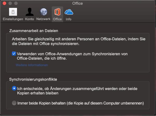 Registerkarte ' Office ' in Microsoft OneDrive mit ausgewählter Option ' Office Synchronisieren '