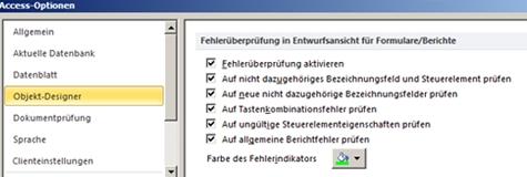 In der Kategorie 'Objekt-Designer' verfügbare Einstellungen für die Fehlerüberprüfung