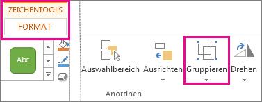 Schaltfläche 'Gruppieren' auf der Registerkarte 'Zeichentools - Format'