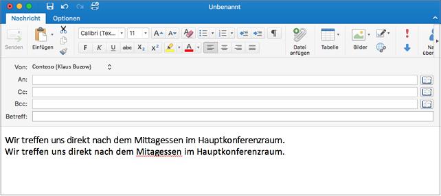 Englischer Satz und deutscher Satz mit falsch geschriebenem Wort in Deutsch. Der Rechtschreibfehler ist rot unterstrichen.