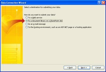 Auswählen eines Ziels für gesendete Daten im Datenverbindungs-Assistenten