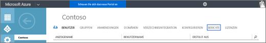 """Screenshot der Organisationsseite für die Contoso-Organisation. Die Option """"Berichte"""" ist hervorgehoben."""