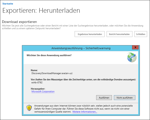 Sicherheitswarnung für eDiscovery Download-Manager
