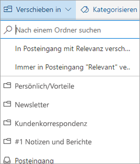 Posteingang mit Relevanz in Outlook im Web