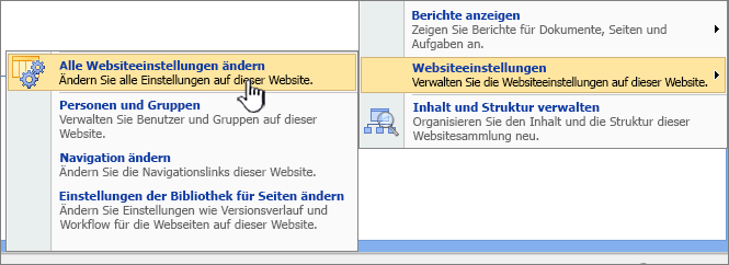 "Option ""Alle Websiteeinstellungen ändern"" unter ""Websiteeinstellungen"""