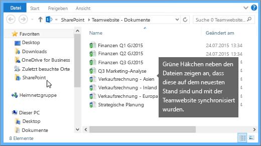 """Über den Datei-Explorer können Sie zu der synchronisierten Datei auf Ihrem Desktop navigieren. Sie befindet sich im Ordner """"SharePoint""""."""