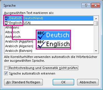 Das Symbol 'Rechtschreibung und Grammatik prüfen'