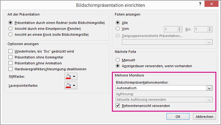 """Monitoroptionen im Dialogfeld """"Bildschirmpräsentation einrichten"""""""