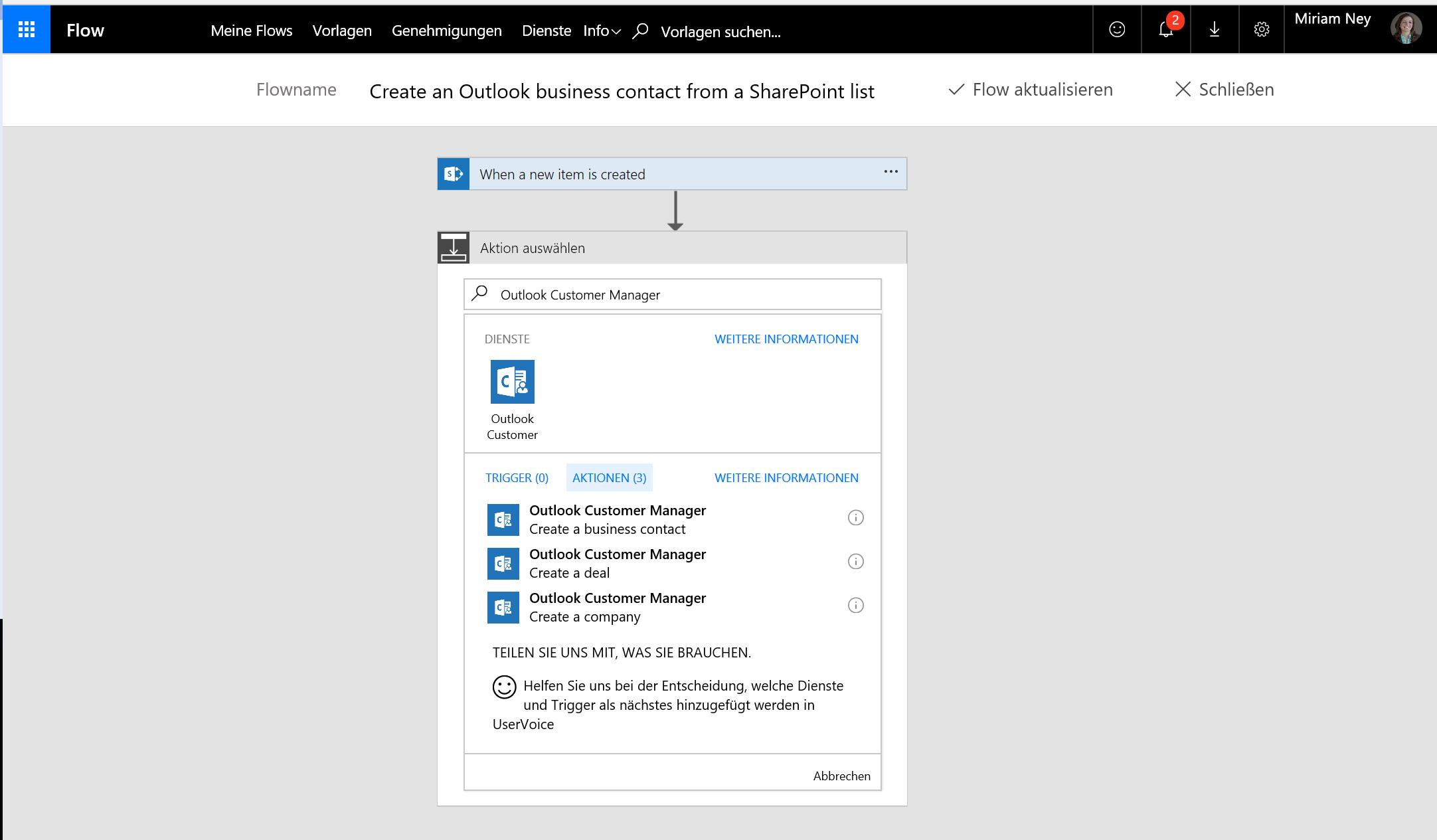 Screenshot zum Erstellen eines Kontakts mit Flow