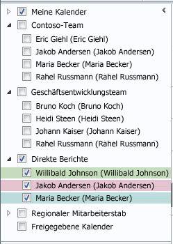 Kalendergruppen im Navigationsbereich