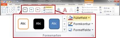 Registerkarte 'Format' im PowerPoint2010-Menüband