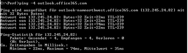 Ping an outlook.office365.com, der den DNS und die IP-Adresse von namnorthwest zeigt.