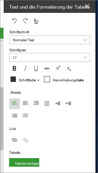 """Öffnen der Seite """"Text-und Tabellenformatierung"""""""