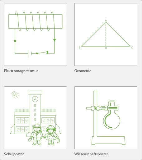 Miniaturansichten von vier von Microsoft bereitgestellte Visio-Vorlagen für die Ausbildung