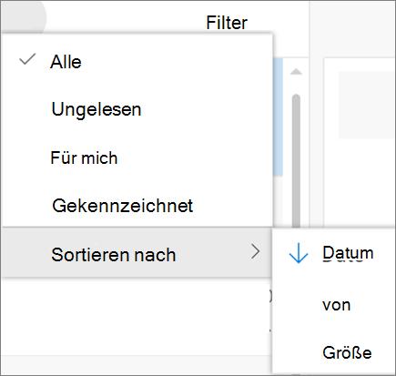 Ein Screenshot zeigt Sortieren nach die Option aktiviert aus dem Steuerelement Filter für e-Mail-Nachrichten an.