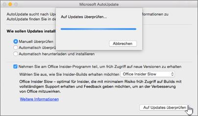 Suche nach Insider Slow-Updates auf einem Mac