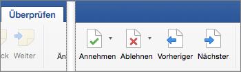 """Auf der Registerkarte """"Überprüfen"""" werden """"Annehmen"""", """"Ablehnen"""", """"Zurück"""", """"Weiter"""" und """"Nächste Änderung"""" angezeigt."""
