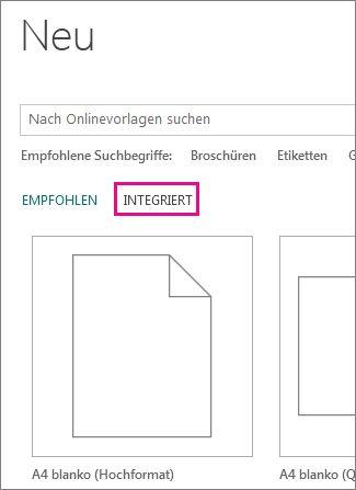 Neu > Integriert