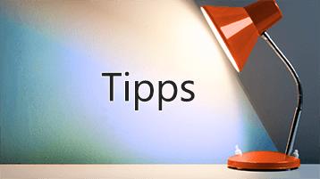 """Lichtstrahl auf das Wort """"Tipps"""""""
