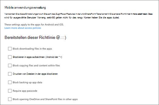 Verwalten der mobilen OneDrive und SharePoint-apps in der OneDrive-Verwaltungskonsole