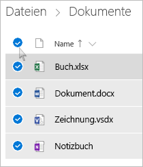 Screenshot der Auswahl aller Dateien und Ordner auf OneDrive