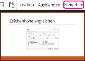 """Der Befehl """"Freigeben"""" in PowerPoint für Android"""