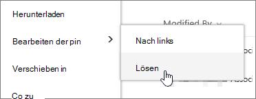 Markieren Sie eine Datei mit Pin bearbeiten und lösen hervorgehoben