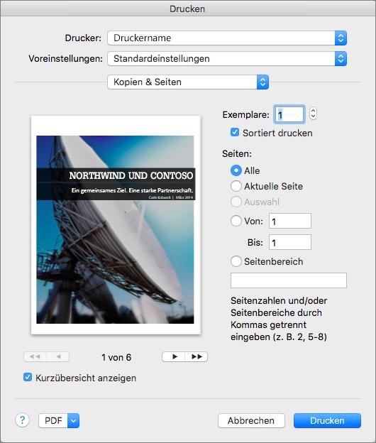 """Unter """"Kopien und Seiteneinstellungen"""" können Sie Seiten in der Vorschau betrachten und die Seiten sowie die zu druckende Anzahl Kopien angeben."""