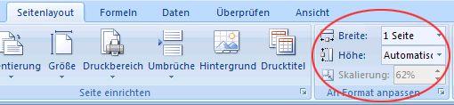 Registerkarte 'Seitenlayout', Gruppe 'An Format anpassen'