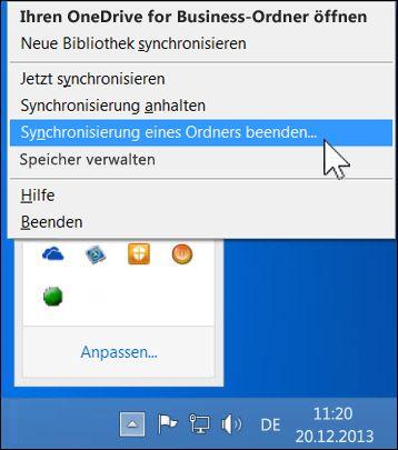 Synchronisierung von OneDrive for Business beenden