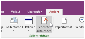 Screenshot der Schaltfläche 'Seitentitel ausblenden' in OneNote 2016