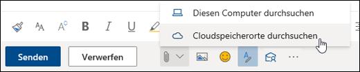 """Screenshot des Menüs """"Anfügen"""", """"Cloudspeicherorte"""" ausgewählt"""