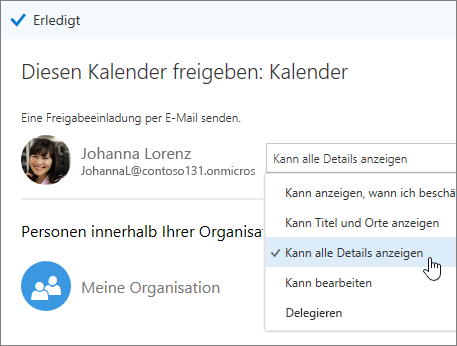 """Screenshot des Bereichs """"Kalender freigeben"""" mit Zugriffsoptionen"""