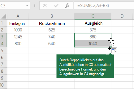 Berechnen des laufenden Kontostands - Excel