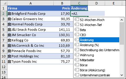 Verknüpfter Datentyp für Aktien