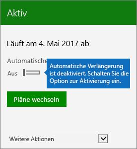 """Screenshot eines Teils der Seite """"Abonnement"""" im Office 365 Admin Center, auf der der Schalter """"Automatische Verlängerung"""" auf """"Aus"""" steht"""