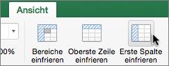 """Registerkarte """"Ansicht"""", Schaltfläche """"Erste Spalte fixieren"""""""