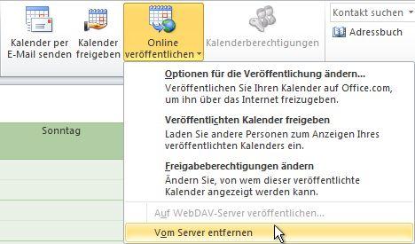 Befehl 'Vom Server entfernen'