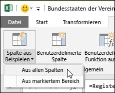 """Power Query: Zusammenführen von Spalten mit Beispiel, Option auf der Registerkarte """"Spalte hinzufügen"""""""