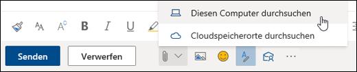 """Screenshot des Menüs """"Anfügen"""", """"Computer"""" ausgewählt"""