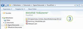 EINGABETASTE drücken, komprimierte Datei kann dann als Ordner geöffnet werden