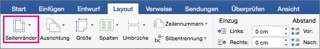 """Auf der Registerkarte """"Layout"""" ist die Option """"Seitenränder"""" hervorgehoben."""