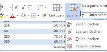 L schen einer zeile spalte oder zelle aus einer tabelle for Tabelle mit 9 spalten