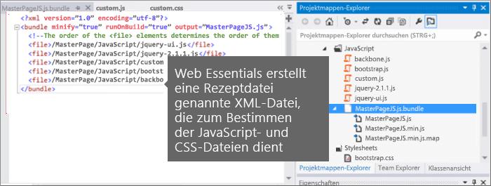 Screenshot der JavaScript- und der CSS-Empfangsdatei